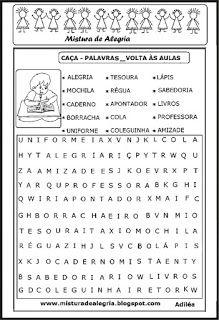 Volta As Aulas Caca Palavras Tarefas Para Educacao Infantil