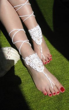 Beach wedding White Crochet wedding Barefoot Sandals, Nude shoes, Foot jewelry, Bridal, Victorian Lace, Anklet  $13.00 USD