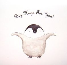 Cute Penguin Big Hugs for You Love Illustration Print Black White Grey Natural Pastel Color Home Wall Decor Sweet Baby Nursery Art 5x7 MiKa