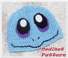 Crochet Pattern, Pokemon Crochet Hat Pattern, Squirtle - Pokemon inspired Crochet Hat, Pdf Pattern, Baby to Adult Hat Baby Sling Pattern, Baby Hat Patterns, Crochet Faces, Hand Crochet, Crochet Baby, Wreck It Ralph Costume, Crochet Hat Tutorial, Pokemon Hat, Pokemon Costumes