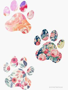 'Floral Paw Print Trio' Sticker by annmariestowe Print Wallpaper, Wallpaper Iphone Cute, Wallpaper Backgrounds, Paw Print Art, Art Prints, Paw Print Drawing, Paw Print Background, Collage Background, Pretty Wallpapers