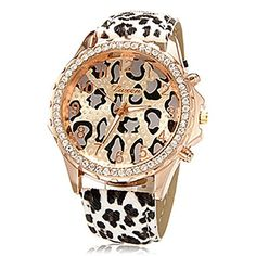 Soleasy Womens Fashion Diamante Golden Dial Leopard Band Wrist Watch WTH8056 ** You can find out more details at the link of the image.Note:It is affiliate link to Amazon.