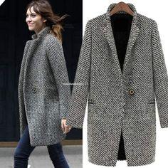 Fashion Women Warm Wool Cashmere Long Winter Parka Coat Outwear Trench Jacket https://madburner.com