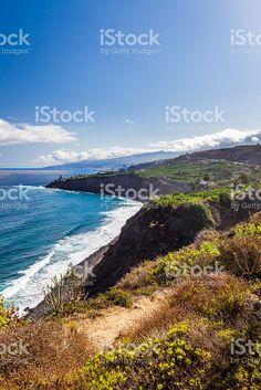 Ocean coast view with blue sky Puerto de la Cruz royalty-free stock photo