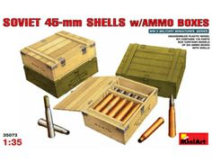 The MiniArt Soviet 45mm Shells with Ammo Boxes in 1/35 scale from the plastic model accessories range provides a highly detailed diorama accessories perfect for use in 1/35 scale dioramas and wargames terrain.  This plastic accessories kit requires paint and glue to complete.