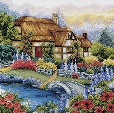 Скачать Сад с мостиком бесплатно. А также другие схемы вышивок в разделах: , Anker, Häuser, Landschaft im ländlichen Raum, Blumen