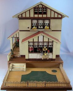 """German Red Roof Gottschalk Dollhouse with Rare Pull-Out Garden 1921 1"""" from curleycreekantiques on Ruby Lane"""