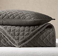 Washed Velvet Diamond-Quilted Coverlet Restoration Hardware. Available in lighter gray. On sale $339