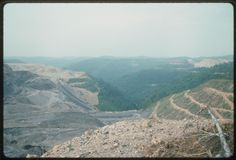 View of Arch Mineral Corporation's mountaintop removal and reclamation project, the Samples Mine on Cabin Creek