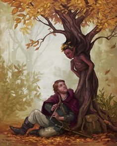 During a halt in the southern Horu forests Vailan Hoghor awaken a fascinated tree spirit with his skillful play on his flute. Fantasy Forest, Medieval Fantasy, Fantasy World, Fantasy Art, Fantasy Races, Magical Creatures, Fantasy Creatures, Character Inspiration, Character Art