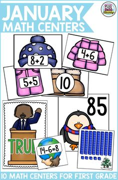 Grab these 10 fun and engaging  math centers for the month of January. Your first graders will love it!