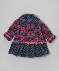 Take a look at this Navy Blooms Away Sweet Pea Coat - Toddler & Girls by Corky & Company on #zulily today!