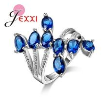 JEXXI  X Cross Special Design 2016 Romantic Rings Fine Jewelry Real 925 Sterling Silver Rings Clear Zircon Rings For Brides(China (Mainland))