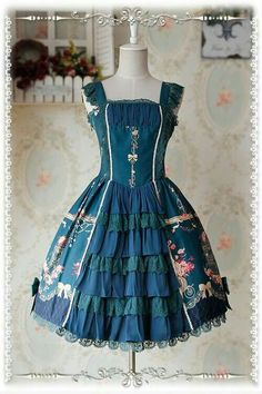 """New Release: Infanta ❤~Love*Canary~❤ ★""""Open Front Version""""★ JSK >>> http://www.my-lolita-dress.com/infanta-love-canary-dark-green-open-front-lolita-jumper-dress-inf-295 {IN STOCK (Fast ship)}"""