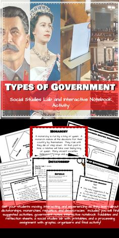Types of Government: Interactive Notebook and Social Studies Lab Monarchy, Dictatorship, Republic, and Democract