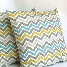 SALE Blue Yellow Chevron Pillow Covers  TWO by PureHomeAccents, $25.99