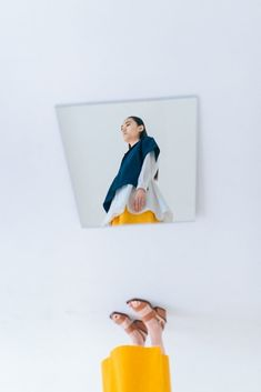 Through the Looking Glass - Page - Interview Magazine / This spring, wide-leg culottes paired with simple tunics in block colors create a sense of minimalist mystery. Mirror Photography, Reflection Photography, Clothing Photography, Conceptual Photography, Artistic Photography, Creative Photography, Editorial Photography, Portrait Photography, Fashion Photography Inspiration