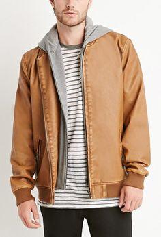 Faux Leather Hooded Jacket | 21 MEN - 2000156311