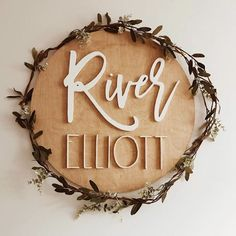 If youre torn on colors neutrals never disappoint ? these simple and soft colors for Rivers sign pair perfectly with a little greenery garland his mama got from a craft store. Do you prefer to see neutrals or bright colors? Top Baby Boy Names, Cute Baby Names, Unique Baby Names, Baby Kind, Baby Love, Baby Name Signs, Future Mom, Everything Baby, Boho Baby