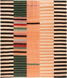 This contemporary Kilim is lively and inviting is a colorful random stripe pattern. Textile Fiber Art, Textile Prints, Lino Prints, Block Prints, Textile Pattern Design, Textile Patterns, Contemporary Fabric, Contemporary Tapestries, Modern Quilt Blocks