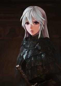 Huntress in Cainhurst armor