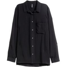 H&M Long-sleeved shirt ($20) ❤ liked on Polyvore featuring tops, black, button collar shirt, black collared shirt, black long sleeve shirt, long sleeve collared shirt e rayon shirts