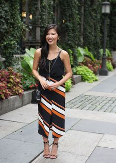 Black & Orange Striped Skirt
