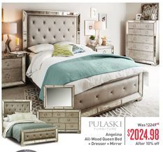 Pulaski Furniture Angelina All Wood Queen Bed + Dresser + Mirror From Value  City Furniture