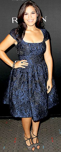 Who made America Ferrera's blue dress, jewelry, and shoes that she wore in New York on September 13, 2012?