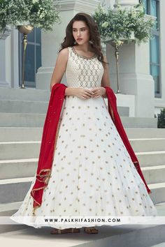 White pure georgette indian designer outfit from palkhi fashion. Beautify with stone,kundan & embroidery work. Comes with red pure georgette dupatta. Lehenga Choli Online, Indian Sarees Online, Indian Dresses, Indian Outfits, Indian Salwar Suit, Salwar Suits, Readymade Salwar Kameez, Lehenga Style, Designer Anarkali