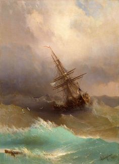 Ivan Aivazovsky , navio no mar tempestuoso , 1887 Stürmische See, Stormy Sea, Russian Painting, Seascape Paintings, Oil Paintings, Love Art, Art History, Painting & Drawing, Amazing Art