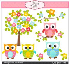 owl clip art, cute tree clip art , Digital clip art  for all use,Owl and flowers tree, instant download clip art tree