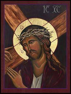 Icon – Christ Accepts the Cross Lyne Beard Religious Images, Religious Icons, Religious Art, Spiritual Paintings, Religious Paintings, Orthodox Catholic, Catholic Art, Cool Jesus, Beard Designs