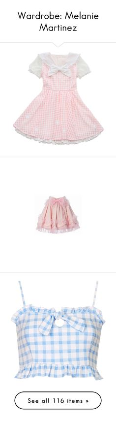 """""""Wardrobe: Melanie Martinez"""" by annaclaraalvez ❤ liked on Polyvore featuring dresses, lolita, pink dress, skirts, bottoms, saias, pink skirt, tops, crop tops and shirts"""