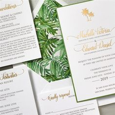The gorgeous palm frond liner and gold foil stamping make this destination wedding invitation from Lemon Tree Stationery speak volumes about class.  Customize yours with Paper Passionista.