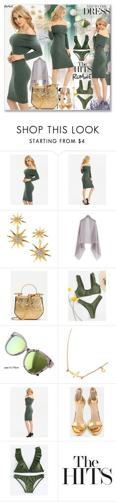 """Fold Over Bardot Pencil Dress"" by ane-twist ❤ liked on Polyvore featuring ANISE, outfits and sumer"