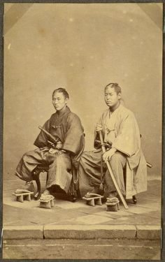 Yakunins, Japan.  Photographs of Japanese officials in Nagasaki 1868.