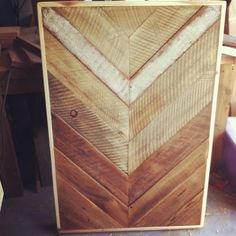 "Reclaimed Ombre Barn wood Chevron arrow herringbone COFFEE, dining, entry way foyer loft console table.  Modern 14"" hairpin steel legs. $430.00, via Etsy."