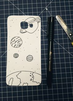 phone case drawing easy space doodle simple cases doodles planet planets drawings society19