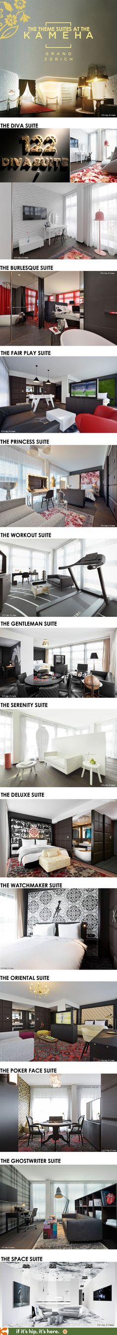 "The ""Theme Suites"" at the amazingly cool new Kameha Grand Zurich."
