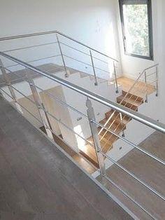 rampant d 39 escalier avec main courante en tube inox bross et remplissage en rond d 39 inox cette. Black Bedroom Furniture Sets. Home Design Ideas