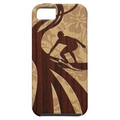 Koa Wood Surfer Surfboard Apple iPhone 5 Case