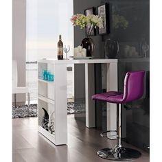 Table de bar Carrée avec étagères Laqué Blanc FUTER