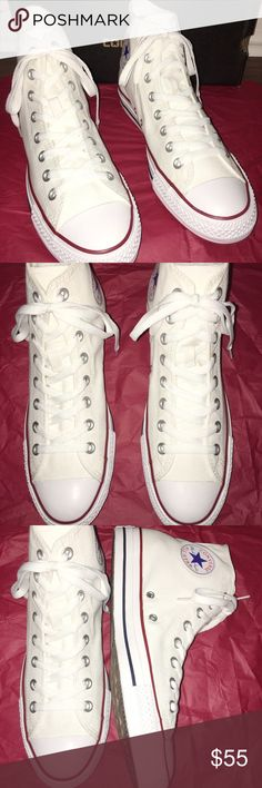CHUCK TAYLOR WHITE CONVERSE Color: white  Condition: new with box!  Brand: converse  Size: Men's 8.5 / Women's 10.5  Description: I bought these shoes for school and they sent me the wrong size. I am selling these at the original cost. Never worn or used BRAND NEW! Feel free to message me with any concerns or questions!  Happy shopping! Converse Shoes Sneakers