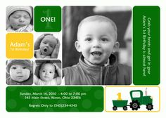 Tractor Photo Card Birthday Invitation Custom Party 1st 2nd 3rd Kids Twin Best Boy Girl Sibling (Powered by CubeCart)