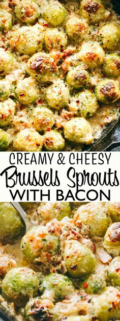 Easy Bacon Recipes, Yummy Recipes, Veggie Recipes, Cooking Recipes, Healthy Recipes, Recipes Dinner, Bacon Recipes For Thanksgiving, Keto Recipes, Creamy Brussel Sprouts