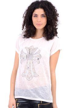 Sheer Top With Jewel Cross Design