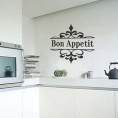 Bon Appetit Sticker. Kitchen Stickers, Blank Walls, Bon Appetit, New Homes, Home Decor, Decoration Home, White Walls, Room Decor, Home Interior Design
