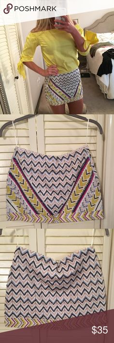 Zara beaded mini skirt NWOT all beads in tact, just never had the chance to wear this beauty! Has a size zipper! Zara Skirts Mini