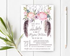 Boho Dream Catcher Baby Shower Invitation 5x7 by JessieKdesign